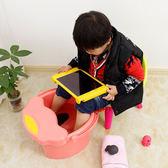 交換禮物-泡腳桶兒童可愛卡通洗腳桶小號寶寶泡腳桶按摩足浴盆塑料帶蓋保溫洗腳盆WY