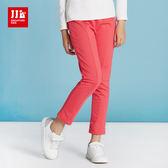 JJLKIDS 女童 亮眼素面休閒運動褲(玫紅)