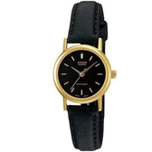 CASIO 時尚簡約皮質指針女錶-金羅馬黑面(LTP-1095Q-1A)