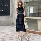 金絲絨洋裝年會顯瘦主持晚宴黑色禮服裙長版蛋糕裙 巴黎時尚