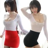 性感夏季新款秘書O顯瘦長袖透視連身裙緊身透明包臀裙情趣超短裙