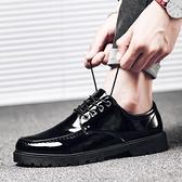 皮鞋 男士小皮鞋黑色韓版亮皮圓頭學生系帶青年休閑男鞋子 雙十一特惠