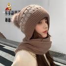 稻草人帽子女秋冬天網紅新款時尚百搭保暖韓版可愛毛線圍巾一體帽 coco