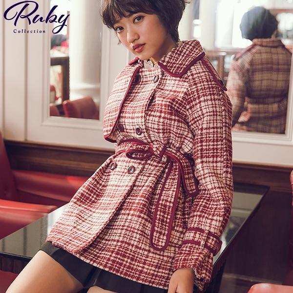 外套 小香風排扣綁帶毛呢外套-Ruby s 露比午茶