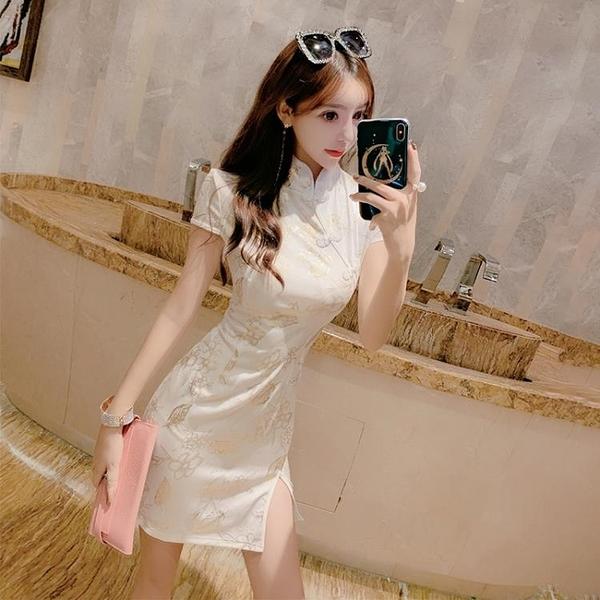改良旗袍 夏季2020新款年輕款少女風改良版旗袍短款包臀開叉修身性感連衣裙