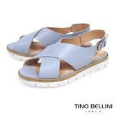 Tino Bellini巴西進口寬版X麻編厚底涼鞋_ 藍 C73404 歐洲進口款