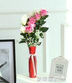 裝飾花 仿真玫瑰花假花套裝客廳餐桌單支裝飾婚慶花幹花花束擺件擺設花藝 igo 歐萊爾藝術館