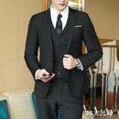 大尺碼西服套裝 三件套青少年結婚西裝外套修身休閒小西裝 QQ9306『MG大尺碼』