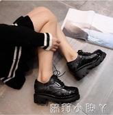 秋冬英倫風女鞋布洛克復古學院小皮鞋粗跟學生牛津鞋加絨中跟女鞋 蘿莉小腳丫