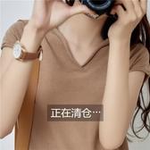 夏季棉麻v領針織短袖女冰絲上衣亞麻寬鬆女裝2020新款女士薄款t恤