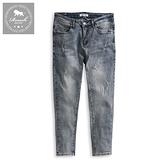 【Roush】高磅數水洗破壞淺色彈力牛仔褲 - 【6822】
