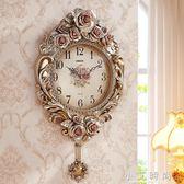 鐘錶掛鐘客廳個性創意簡約現代歐式復古掛鐘靜音石英臥室美式 小艾時尚igo