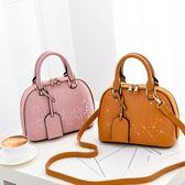 包包女手提包新款單肩斜挎包刺繡貝殼包時尚韓版手提包百搭上新女包 qf12413『Pink領袖衣社』