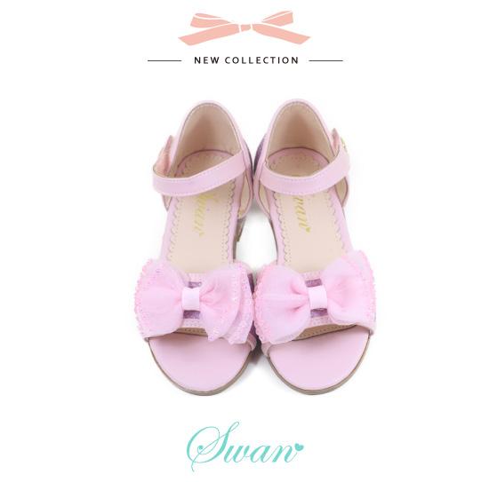 Swan天鵝童鞋-女童蝴蝶結細蔥小高跟涼鞋3873-粉