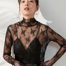 透視上衣 黑色蕾絲打底衫女春秋透視高領紗衣內搭洋氣薄紗長袖透明網紗上衣-Ballet朵朵