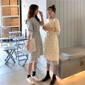 假兩件網紗T恤長裙女夏裝韓版ins很仙的閨蜜裙子波點連身裙夏學生