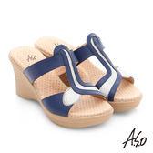 A.S.O 挺麗氣墊 全真皮寬楦圖騰氣墊楔型涼拖鞋  藍