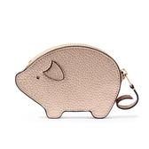 COACH 金豬造型全皮拉鍊零錢包(玫金色)198392