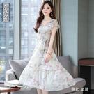 雪紡碎花連身裙2020新款夏有女人味氣質中年媽媽寬鬆大碼微胖顯瘦 FX4873 【夢幻家居】