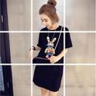 俏皮可愛前後兔長版上衣洋裝 (黑 白) 11650005