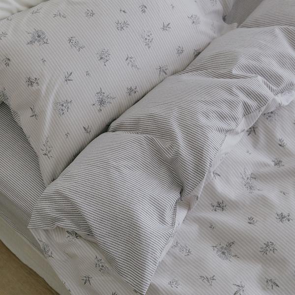純棉 精梳純棉 床包被套組(薄) 雙人【微光】ikea風 100%精梳棉 翔仔居家