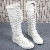 雙十一提前購   春秋休閑女式帆布鞋側拉鏈長筒靴子舞臺演出跳舞單鞋   mandyc衣間