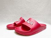 FILA 中性款紅色一片式防水休閒涼拖鞋 4S355Q221