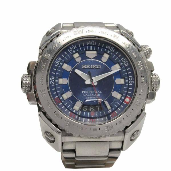SEIKO Perpetual系列不鏽鋼萬年曆腕錶  6A32-00E0 【二手名牌BRAND OFF】