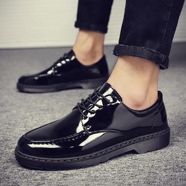 快速出貨 男鞋正韓潮流商務小皮鞋男士英倫風百搭青年網紅黑色豆豆潮鞋