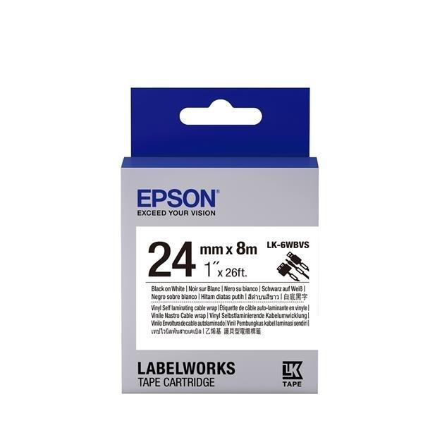 EPSON LK-6WBVS 原廠標籤帶(線材24mm )黑字 C53S656419