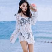 罩衫 韓國白色鏤空透視蕾絲沙灘外套中長款長袖防曬性感比基尼泳衣罩衫 漫步雲端