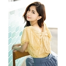 H2O 夏 大波浪袖背後蝴蝶結裝飾棉質刺繡上衣 - 黃/紫/白色 #1685012