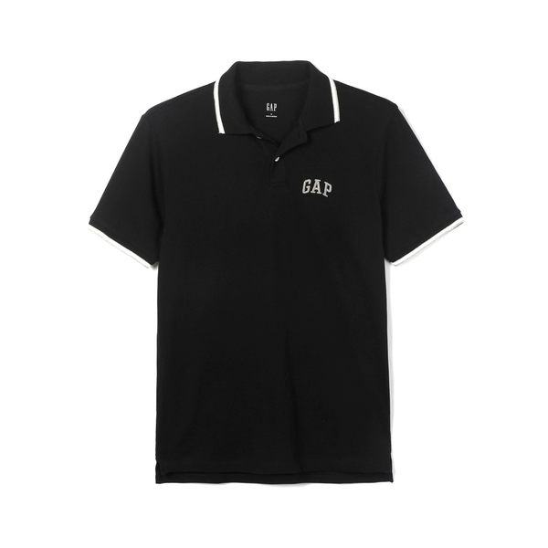 Gap男裝 Logo雅致風格短袖Polo衫 440725-正黑色