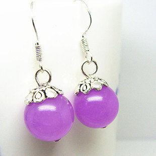 水晶紫玉髓 時尚女士耳墜 簡單款