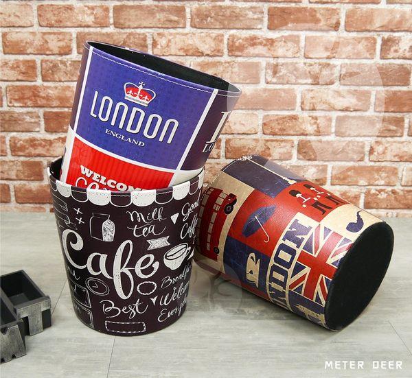 英倫風復古流行垃圾桶經典英國旗倫敦london卡通風格造型 防潑水皮革製玩具置物桶-米鹿家居