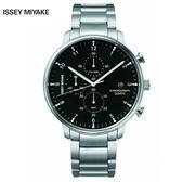 三宅一生ISSEY MIYAKE C系列 NYAD001Y 雅痞中性三眼鋼帶錶x42mm黑 公司貨|名人鐘錶高雄門市