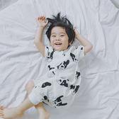 童裝嬰兒連身睡衣法斗小狗雙層紗布睡袋寶寶哈衣 免運直出 交換禮物