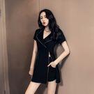VK精品服飾 韓系獨特拉鏈設計時髦套裝短袖褲裝