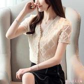 OL雪紡襯衫女士夏季百搭顯瘦時尚超仙蕾絲衫很仙的上衣洋氣短袖 XN1377【Rose中大尺碼】