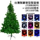 摩達客 台灣製4尺豪華版綠聖誕樹(不含飾品)+100燈LED燈1串白光LED燈
