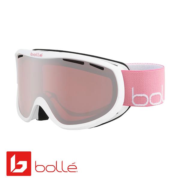 法國 Bolle SIERRA 雙層鏡片設計 防霧雪鏡 亮麗白/粉 #21947