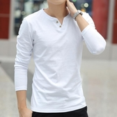 長袖T恤男士純色V領打底衫修身男裝體桖純棉潮流衣服 露露日記