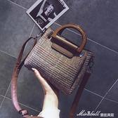 少女包包潮新款韓版百搭格子子母包手提單肩斜挎小包    蜜拉貝爾