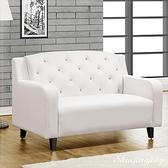 【水晶晶家具/傢俱首選】ZX1242-4日向130cm台製白色南亞PVC皮面鑲鑽雙人座沙發