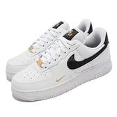 Nike 休閒鞋 Wmns Air Force 1 07 Ess 黑 小金勾 金標 小白鞋 女鞋【ACS】 CZ0270-102
