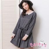 betty's貝蒂思 格紋綁結配色洋裝(深灰藍)