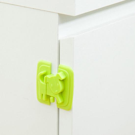 ◄ 生活家精品 ►【Q311】小狗造型移動安全鎖 兒童 防護 冰箱 櫥櫃 鎖扣 防夾 掉落 保護 直角 黏貼