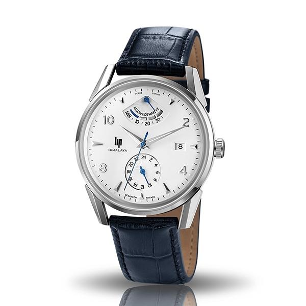 【lip】Himalaya登峰造極時尚真皮機械腕錶-壓紋藍/671555/台灣總代理公司貨享兩年保固