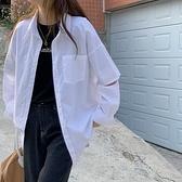 (下殺)韓版簡約白色百搭襯衫寬鬆袖口破洞上衣女【08SG05950】