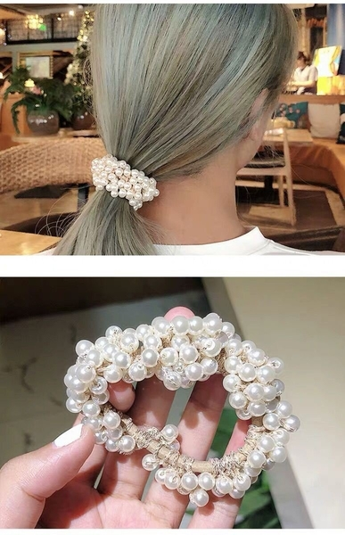 韓版少女甜美清新仿珍珠髮繩 顏色隨機